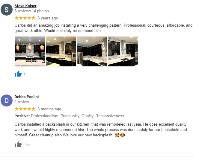 Installation and Work Reviews from Google